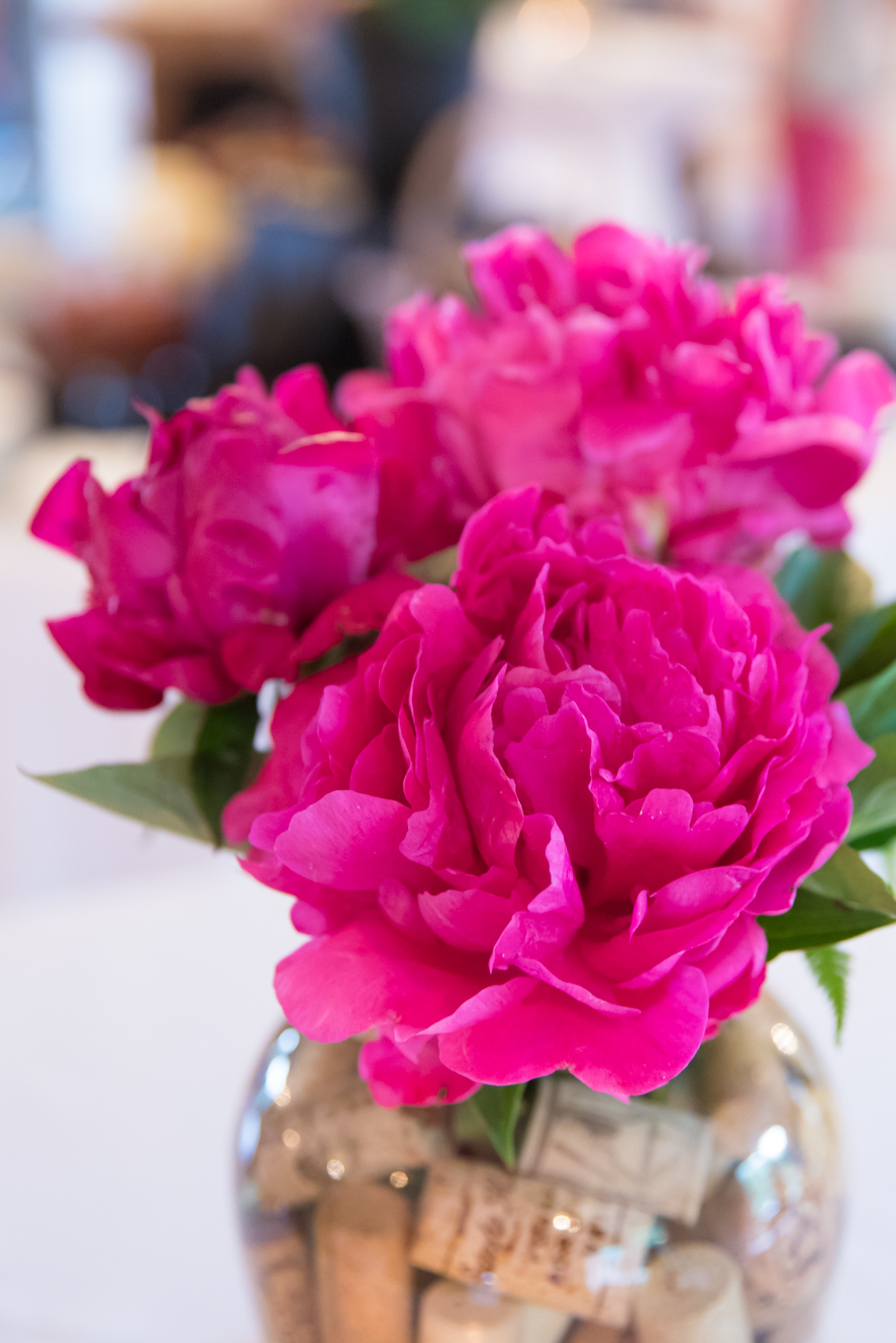 Beautiful peonies for our centerpieces were donated by Wild Thyme Flowers, Centerville, DE.