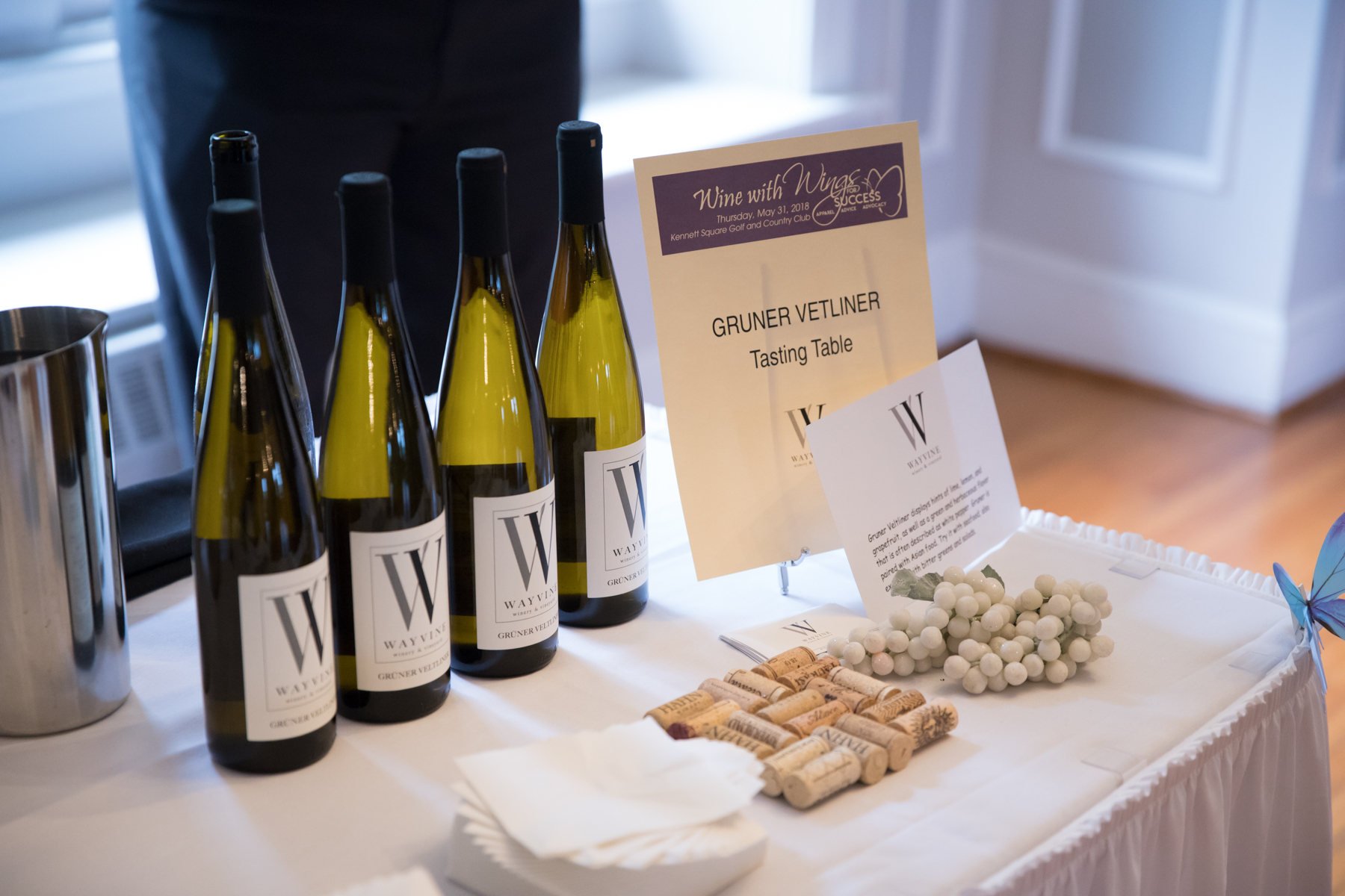 Guests sampled six wines from WAYVINE winery and vineyard, with food pairings.