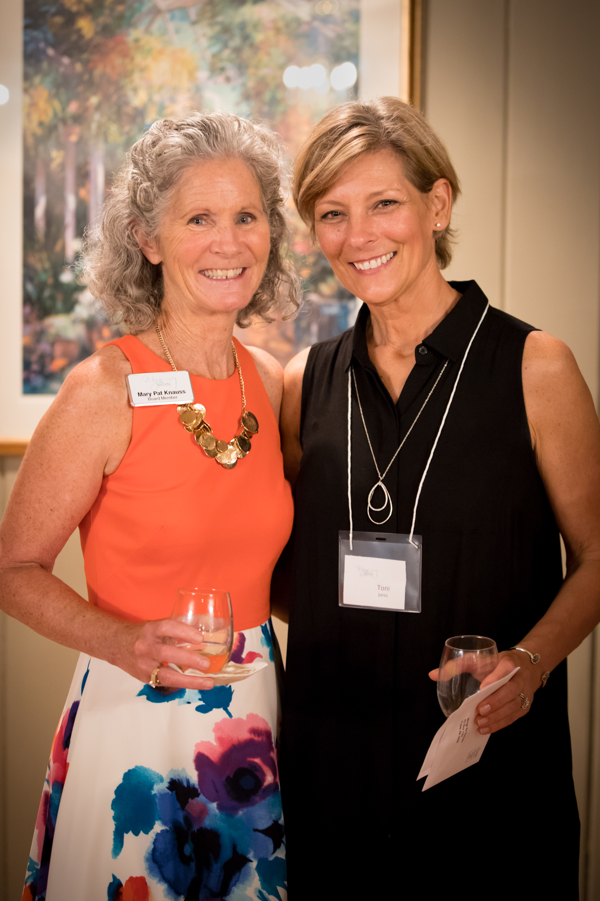 Mary Pat Knauss (L), member of the event planning committee and board member, with Toni Jaros