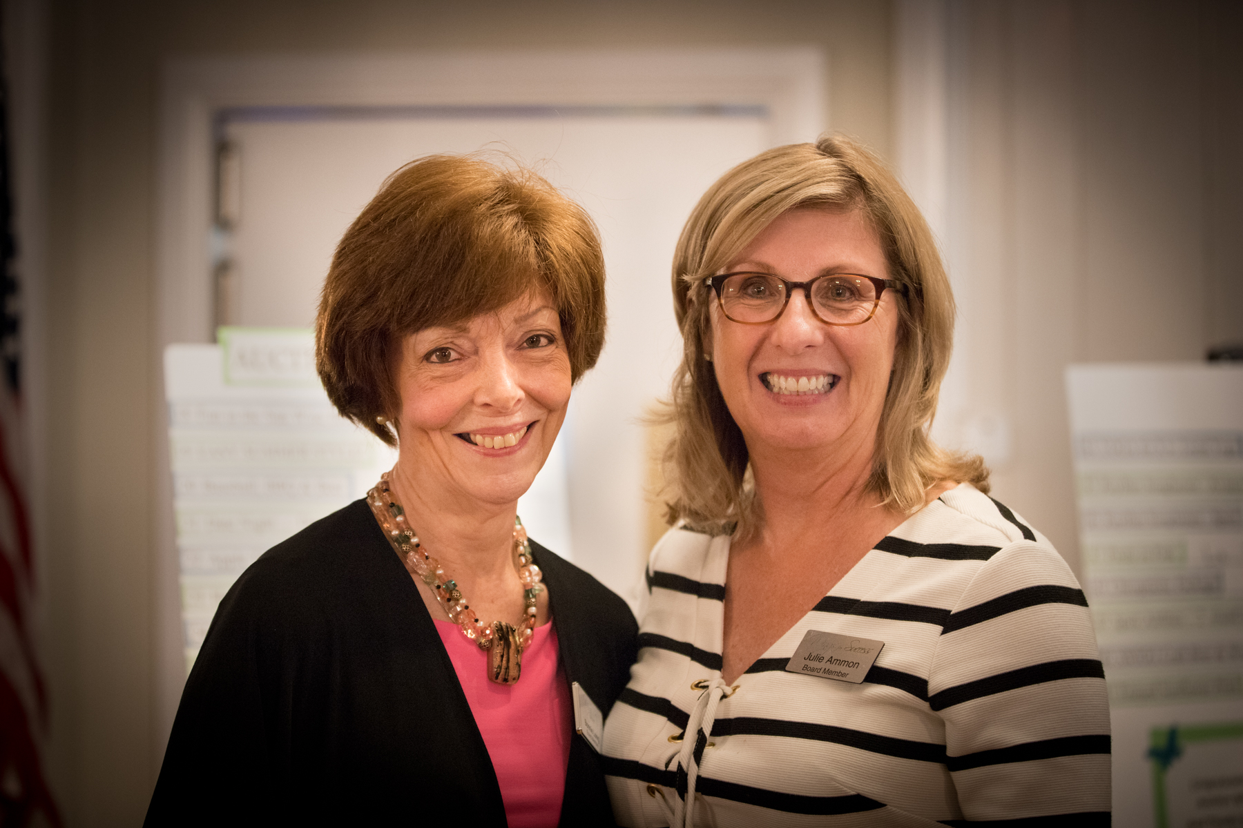 Bonnie Long, Co-Chair of the event (L) with Julie Ammon, Board President.